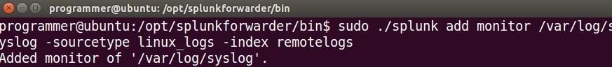 splunk forwarder linux add data