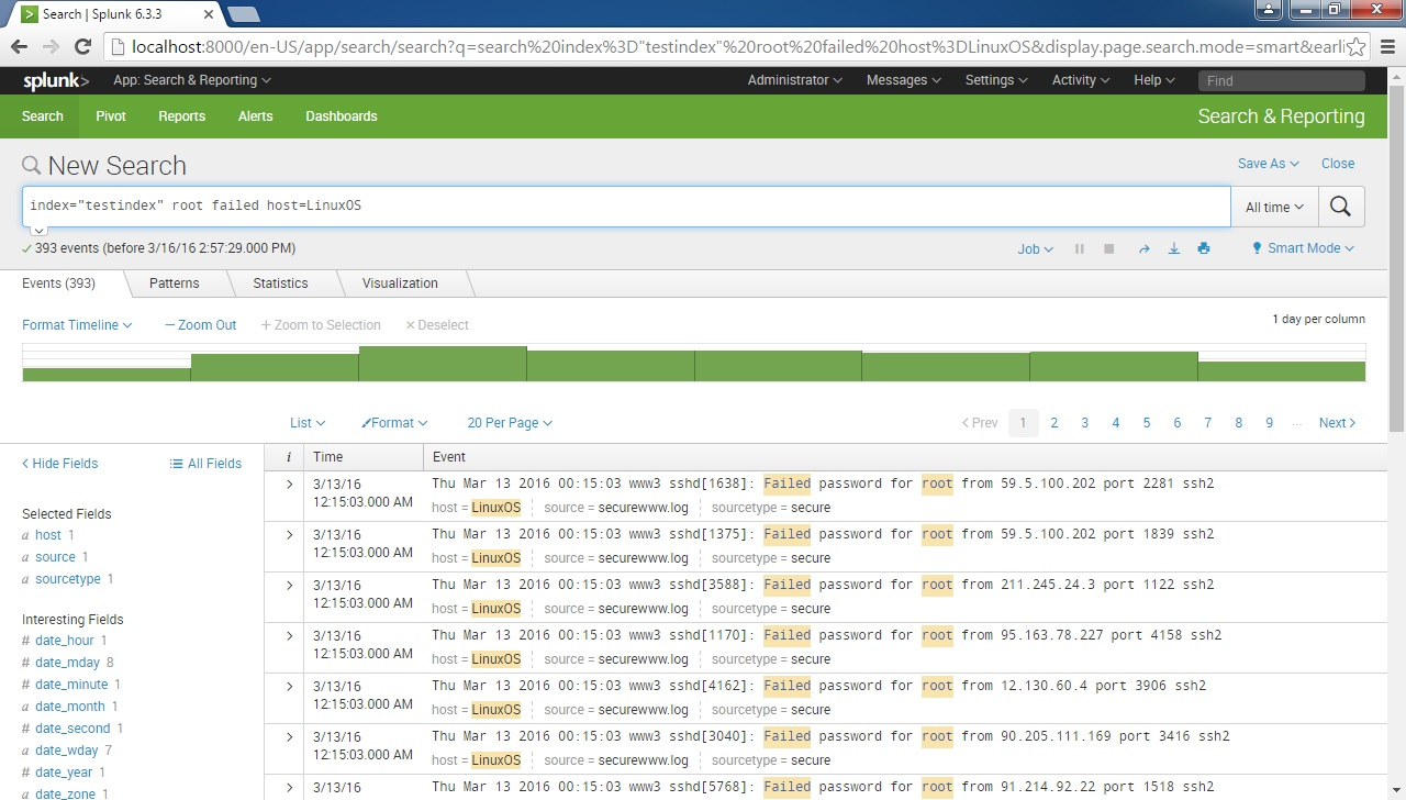 splunk host field search