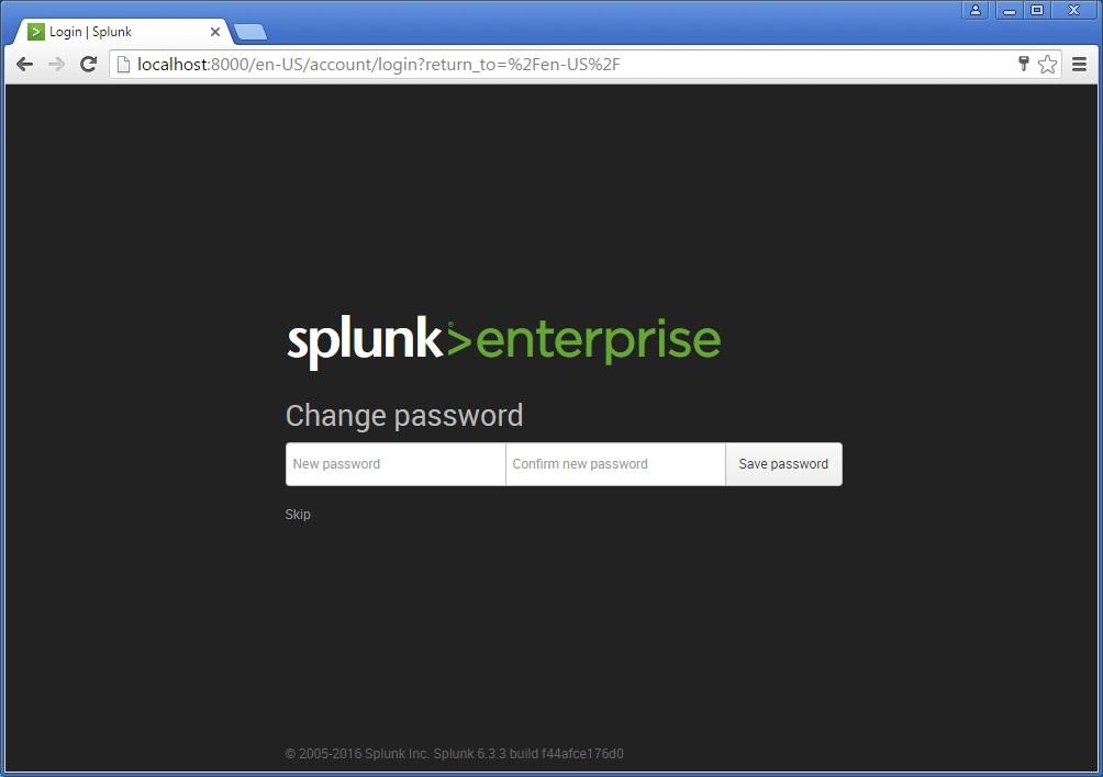 splunk new password