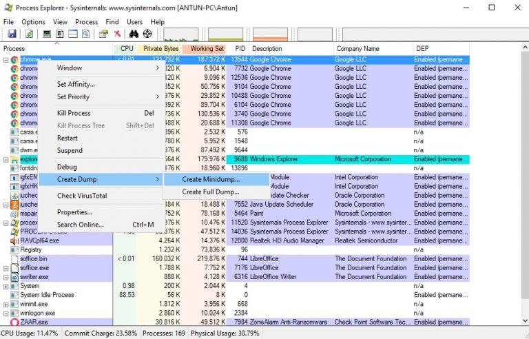 Process Explorer create memory dump