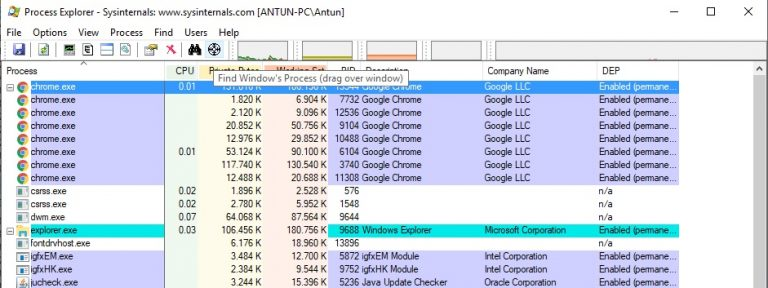 Process Explorer find window's process