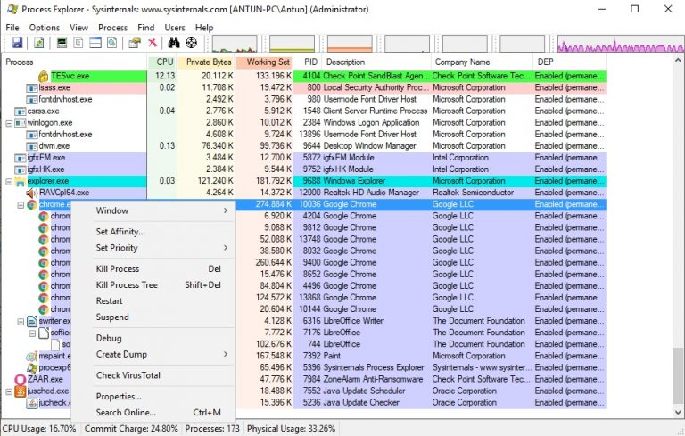 Process Explorer actions