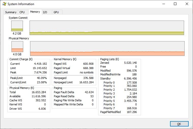 System Information Memory tab